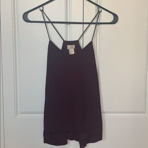 H&M faux leather spaghetti strap top maroon
